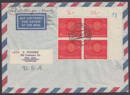 338, ER-4er Block Als MeF Auf Luftpost In Die USA - Briefe U. Dokumente
