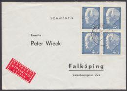 430, MeF Mit 4 Werten Auf Eilboten Nach Schweden - Briefe U. Dokumente
