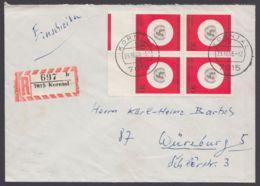 """527, MeF Mit 4 Werten, R-Brief """"Korntal"""", 23.10.66! - BRD"""