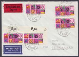553, MeF Mit 5 Werten Auf Eilboten-Luftpost, Dabei Plattenfehler 553 I - Briefe U. Dokumente