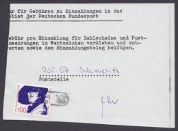 1483, EF Auf Gebührenschein Für Bar-Einzahlung, Selten! - BRD