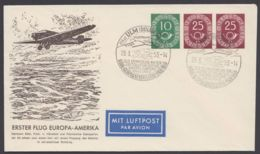 "PU 4 B 1/01 ""Erster Flug Europa-Amerika"", Stempel ""Ulm"", 29.3.53 - BRD"