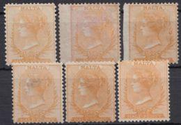 """2, 3 """"Viktoria"""", 6 Werte In Div. Varianten, * Bzw. (*) - Malta"""