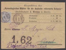 """55, EF Auf NN-Beleg, """"Zürich-Fahrpost"""", 1.4.86 - 1882-1906 Wappen, Stehende Helvetia & UPU"""
