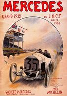Car Automobile Grand Prix Postcard Dieppe ACF 1908 Mercedes Pneu Michelin - Reproduction - Publicité