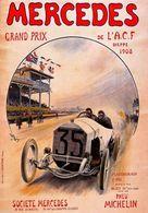 Car Automobile Grand Prix Postcard Dieppe ACF 1908 Mercedes Pneu Michelin - Reproduction - Advertising