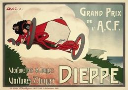Car Automobile Grand Prix Postcard Dieppe ACF 1908 - Reproduction - Publicité