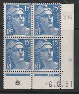 FRANCE N° 886  5F OUTREMER TYPE MARIANNE DE GANDON COIN DATE DU 6.6.1951 NEUF SANS CHARNIERE - Coins Datés