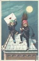 Cpa Fantaisie : Enfants Ramoneurs, Lune ( Gaufrée ) - Fantaisies