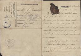 Guerre 14 Prisonnier Français à Munster Enveloppe Formulaire Münster Westfalen Camp 3 Pensée Séchée FM Texte Censure - Briefe U. Dokumente