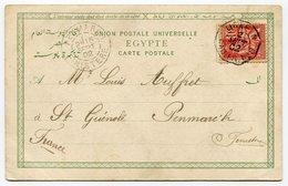 RC 11294 FRANCE N° 116 OBL. LIGNE N / PAQ. FR. N° 8 EN 1902 SUR CARTE POSTALE D'EGYPTE PAS COURANT SUR MOUCHON - TB - Postmark Collection (Covers)