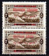 Col11   Grand Liban Variété N° 111 Paire Surcharge Imcomplete Neuf XX MNH Cote  60,00 Euros - Great Lebanon (1924-1945)