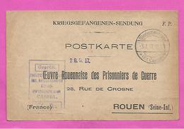 POSTKARTE  Kriegsgefangenensendung - Oeuvre Rouennaise Des Prisonniers De Guerre ROUEN  Censure Du Camp De CASSEL 1917 - Storia Postale
