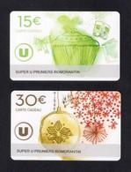 2  Carte Cadeau SUPER U  PRUNIERS ROMORANTIN (41).    Gift Card. Geschenkkarte - Gift Cards