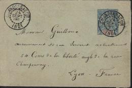 Enveloppe Entier Postal 15c Groupe Allegorique Bleu Cartouche Rouge  Ets De L'inde CAD Rouge Chandernagor Inde 24 9 90 - Briefe U. Dokumente