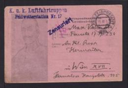 "1918 - Felspoststempel ""..Feldwetterstation.."" - Feldpostkarte Mit Zensur - Protection De L'environnement & Climat"