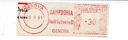 1961 Affrancatura Meccanica Rossa EMA Freistempel Frammento Cut Genova SAMPDORIA Calcio Soccer Team - Affrancature Meccaniche Rosse (EMA)
