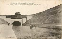 CPA 13 Bouches Du Rhone Canal De Marseille Au Rhone Entrée Du Tunnel Du Rove Coté De Gignac Bateau - Marseille