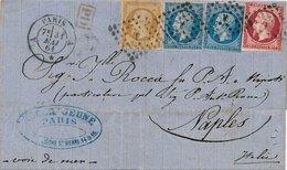 Lettre N°13,14x2,17 Paris Naples, 3 Couleurs, Tarif 1F30 - Marcophilie (Lettres)