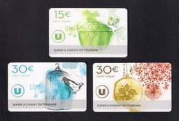 3  Carte Cadeau  SUPER U  CHISSAY EN TOURAINE (41).    Gift Card. Geschenkkarte - Cartes Cadeaux