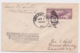 PHILADELPHIA-NEW-YORK-ATLANTA ROUTE AIR MAIL SERVICE FIRST FLIGHT 1930 TO CHARLOTTE - Poste Aérienne