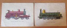 Soframycine Laboratoires Roussel - 2 Images Publicitaires De Locomotives 515 1864 Espagne Et Johson 1889 Angleterre - Advertising