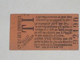 "Ancien Ticket Omnibus "" TI "". Compagnie Générale Des Omnibus, Ticket Metro. - Tramways"