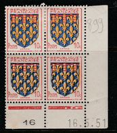 FRANCE N°899 10C CARMIN OUTREMER NOIR ET JAUNE BLASON D'ARTOIS COIN DATE DU 16.5.1951 NEUF SANS CHARNIERE - Coins Datés