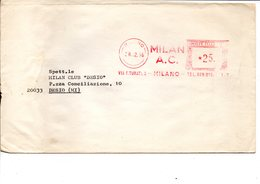 1968 Affrancatura Meccanica Rossa EMA Freistempel Milano MILAN A.C. Squadra Calcio Soccer Team Su Busta X Milan Club - Affrancature Meccaniche Rosse (EMA)