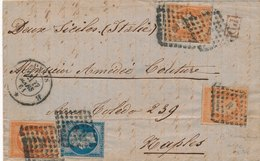 Lettre N°14,16x3 Paris Naples Tarif 1F40 - Marcophilie (Lettres)