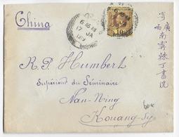 STRAITS SETTLEMENTS / CHINA - 1919 - ENVELOPPE De SINGAPORE => NAN-NING (KOUANG-SY) - China