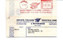 1962 Affrancatura Meccanica Rossa EMA Freistempel Milano Soc. Ital. Industria Gomma & Hutchinson Aquila Modulo Fattura - Affrancature Meccaniche Rosse (EMA)