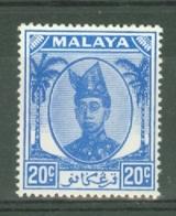 Malaya - Trengganu: 1949/55   Sultan Ismail     SG79   20c   Bright Blue   MH - Trengganu