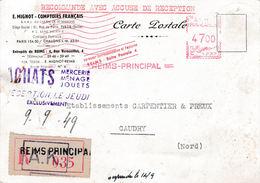 CP Recommandée AVEC AR Affranchie Par EMA De Reims à 47 F Le 9/9/1949 - Posttarife