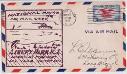 ASHBURY PARK NEW JERSEY RESORT CITY AIR MAIL WEEK COMMEMORATIVE COVER 1938 TO LONG BRANCH VIA NEWARK - Enveloppes évenementielles