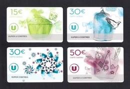 4  Carte Cadeau  SUPER U  CONTRES (41).    Gift Card. Geschenkkarte - Cartes Cadeaux