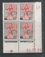 FRANCE N° 1216 25FVERT GRIS ET ROUGE TYPE MARIANNE A LA NEF COIN DATE DU 30.11.1959 NEUF SANS CHARNIERE - Coins Datés