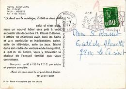 CARTE PUB Pour HOTEL SAINT JEAN à MEGEVE (74) Rare - Carte Postée En 1977 - Advertising