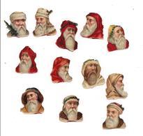 POCHETTE 12 PETITS  DECOUPIS GAUFFRES PERE NOEL - - Motiv 'Weihnachten'