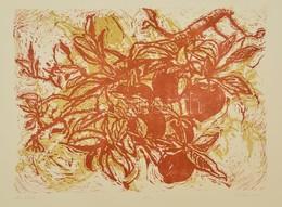 Somlai Vilma (1938-2007): Őszi Alma. Színes Linó (61/100), Papír, Jelzett, 29×38 Cm - Other Collections