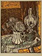 Somlai Vilma (1938-2007): Kék Lámpa. Színes Linó (38/100), Papír, Jelzett, 39×30 Cm - Other Collections