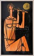 Stotz Mihály (1941- ): Illusztráció, Tűzzománc-terv, Papír, Jelzett, 14×8,5 Cm - Ohne Zuordnung