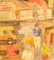 Szabados Jenő (1911-1942): Gyalogátkelő. Vegyes Technika, Papír, Jelzett, üvegezett Keretben, 33×30 Cm - Other Collections