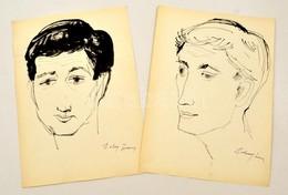 Szalay Jelzéssel: Férfi Portrék ( 2db). Tus, Papír, 29×20 Cm (2×) - Other Collections