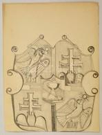 Szabó Jelzéssel: Címer. Ceruza, Papír, 39×30 Cm - Other Collections