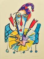 Szalma Edit (1964-): Bohócfej VII. Színes Szitanyomat, Számozott (6/10), Papír, Jelzett, üvegezett Keretben, 68x48 Cm - Other Collections