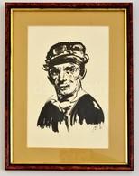 Szász Endre (1926-2003): Pilota. Tus, Papír, Jelzett (Sz.E), üvegezett Keretben, 27×17 Cm - Other Collections
