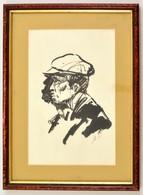 Szász Endre (1926-2003) Illusztráció (kalapos Férfi). Tus, Papír. Jelzett. Üvegezett Keretben. 26x17 Cm - Other Collections