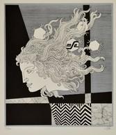 Szász Endre (1926-2003): Női Arc. (Emese). Szitanyomat, Sorszámozott, Jelzett, 40×35 Cm - Ohne Zuordnung