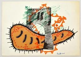 Szeift Béla (1944-2012): Faltörő Kos, Kollázs, Vegyes Technika, Papír, Jelzett, 23×33 Cm - Other Collections